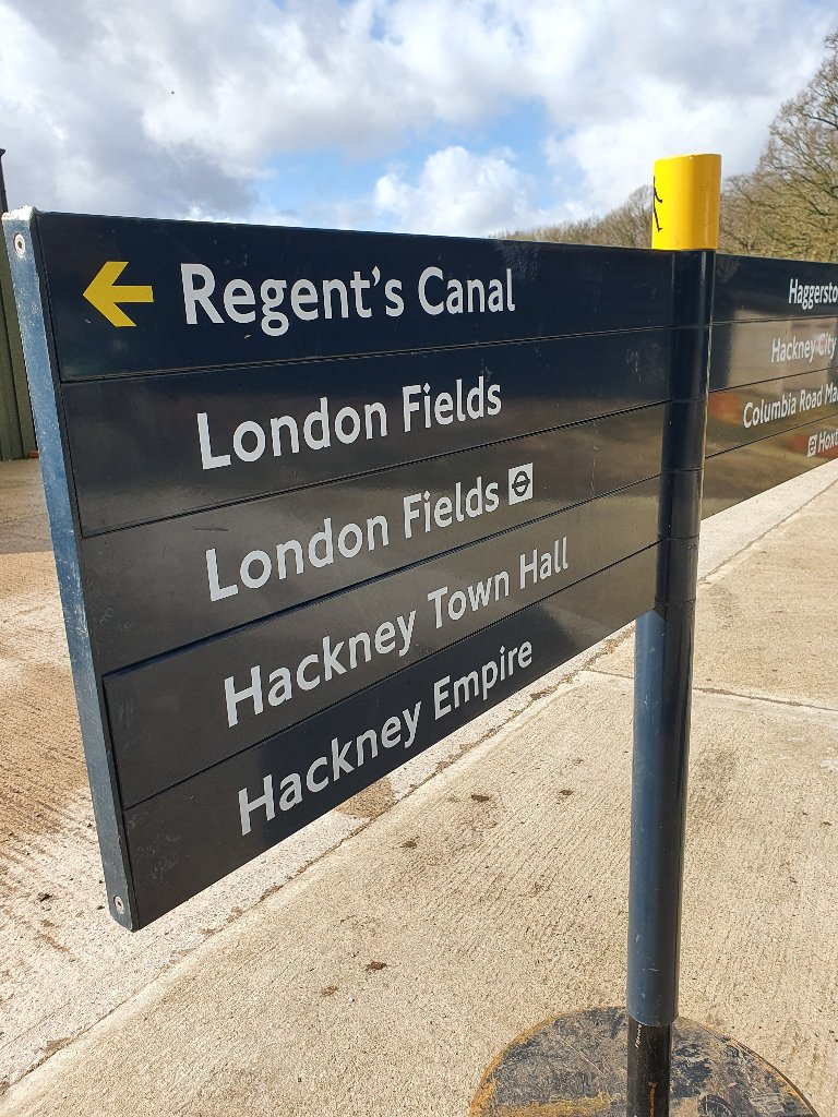 Unique 2 Finger Finger Post, Regents Canal – Hackney Empire