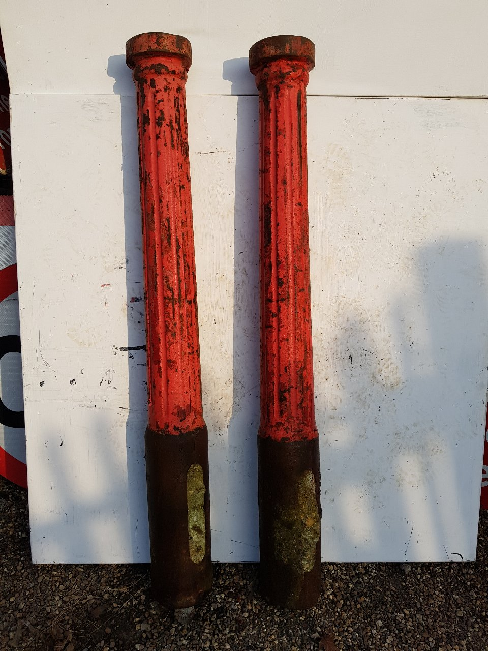 Red Cast Iron Fluted Bollards