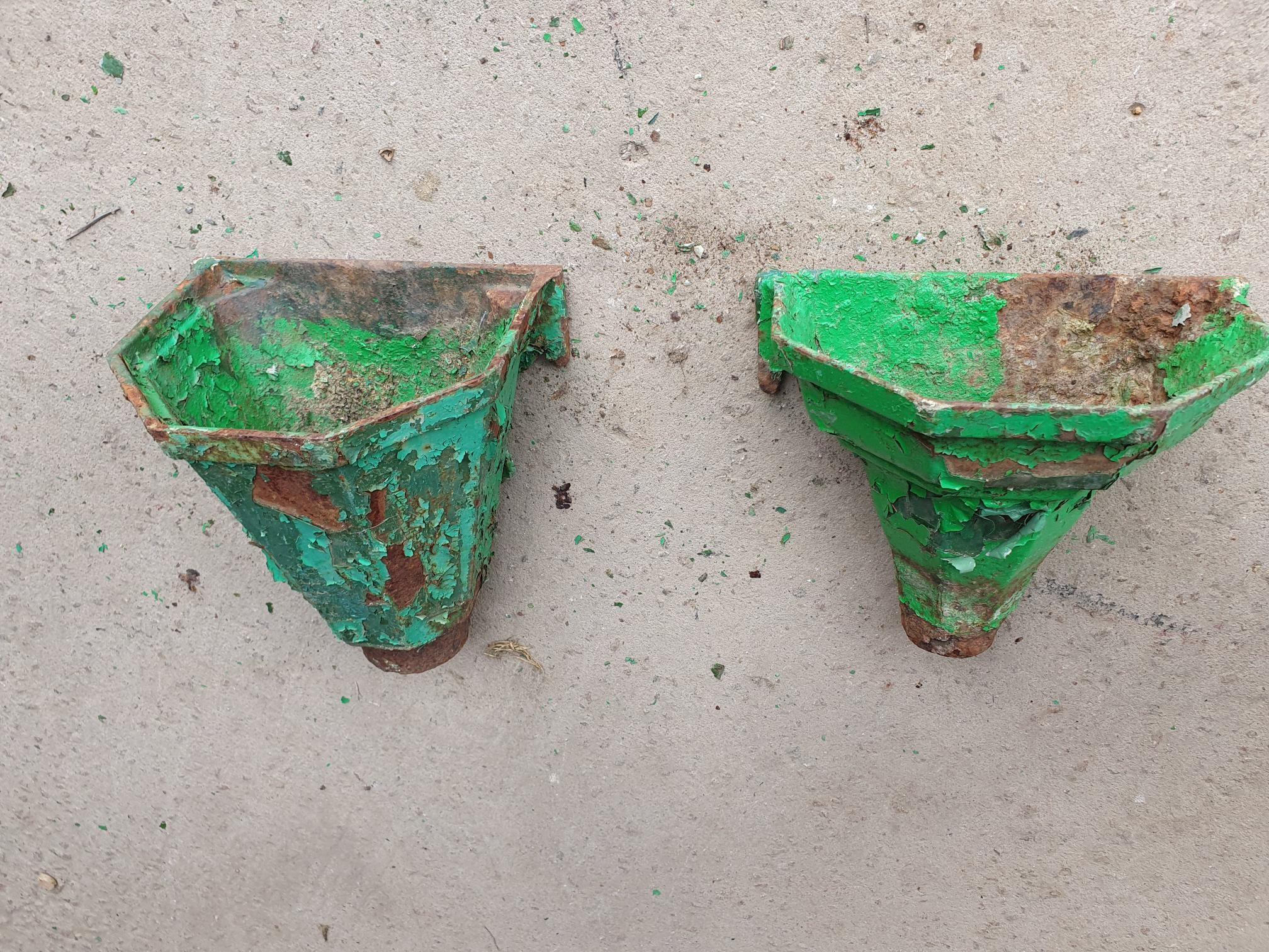 Round Vintage Cast Iron Hoppers