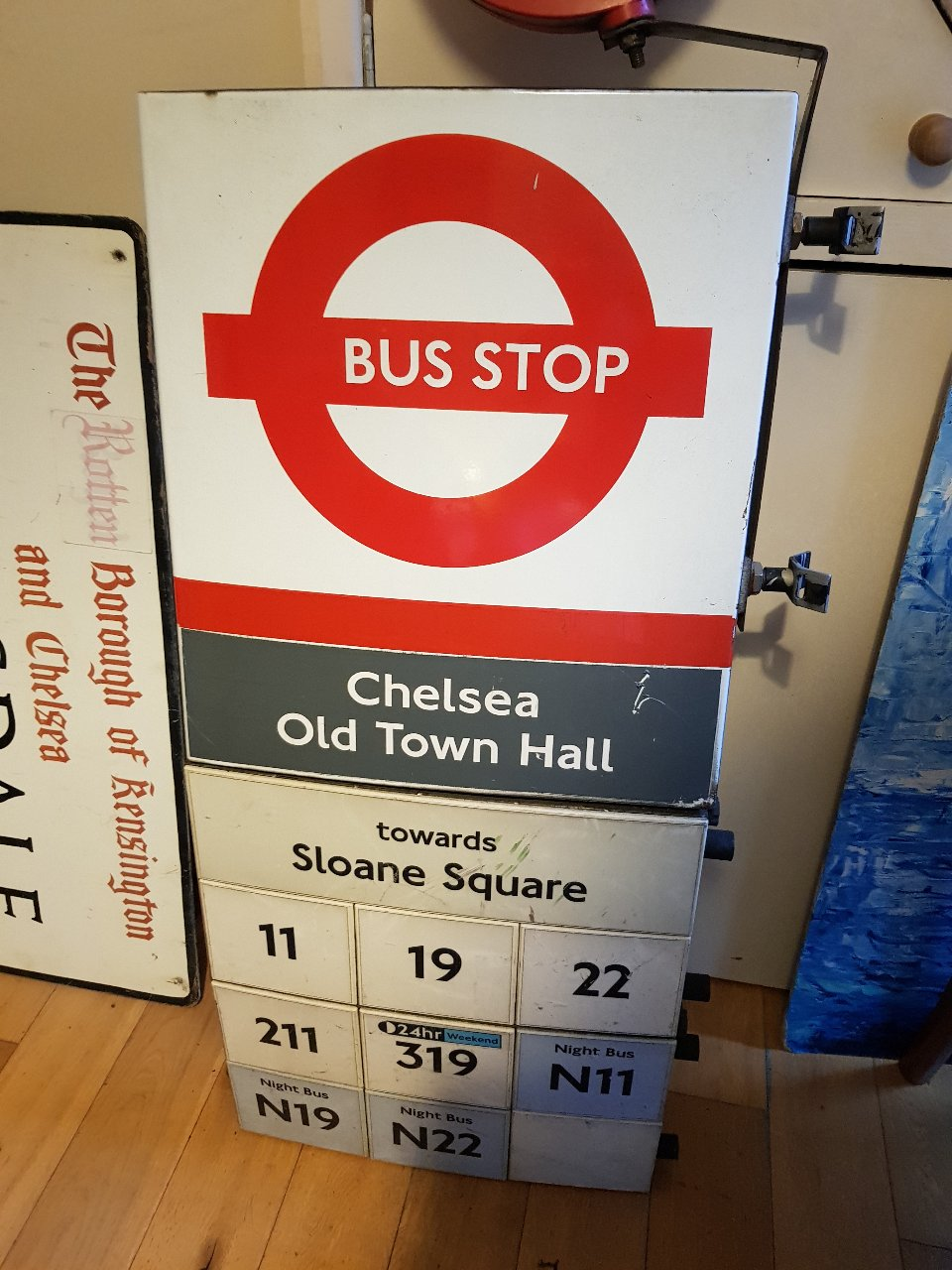Chelsea Town Hall Bus Stop Sign