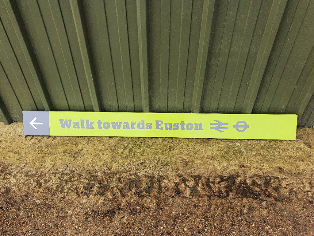 Sign – Walk Towards Euston (British Rail / Underground) Rare Item