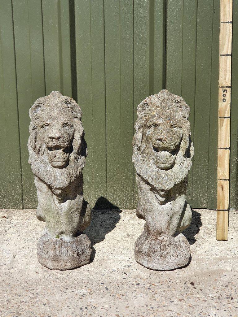 Standing Concrete Lions