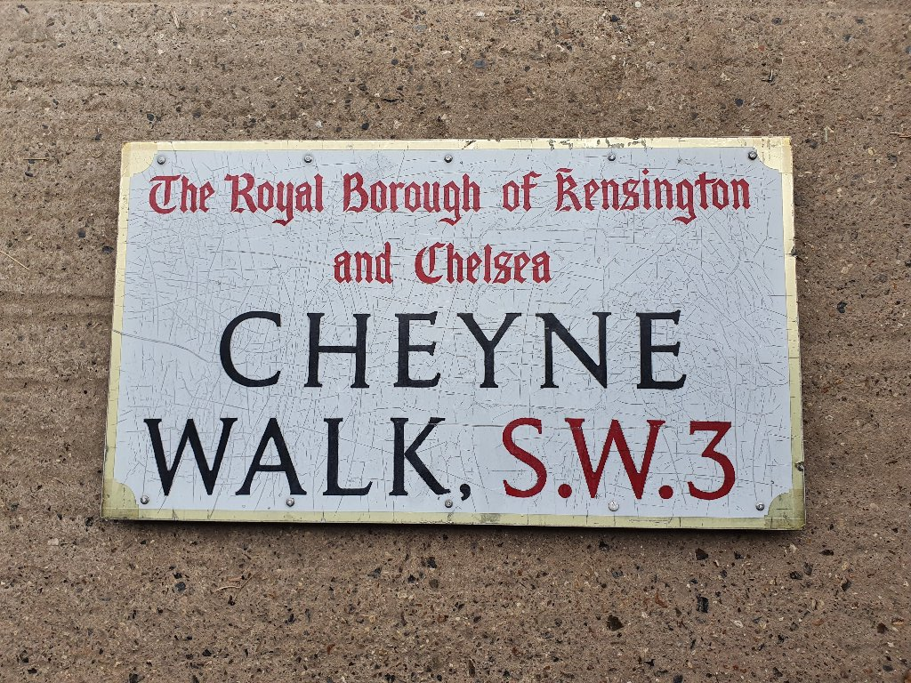 "Orgininal ""Cheyne Walk"" Chelsea Street Name Sign – RARE ITEM"