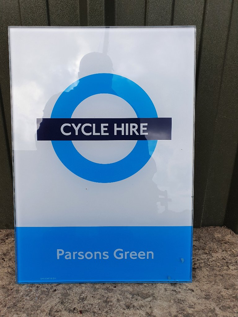 """Sign – Glass London """"Parsons Green"""" Cycle Hire Sign"""