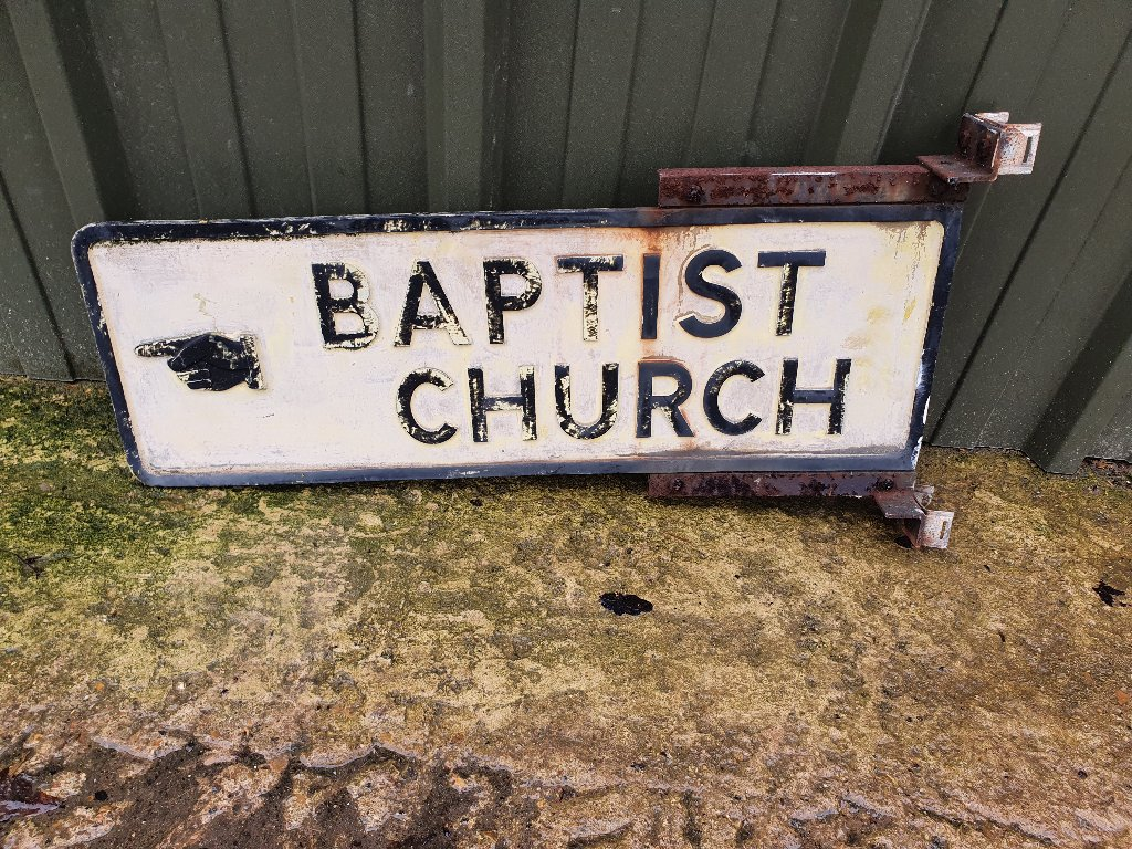 "Rare Vintage Cast Iron Sign Pre Warboys (1964) ""Baptist Church"""