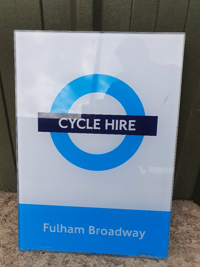 """Sign – Glass London """"Fulham Broadway"""" Cycle Hire Sign"""