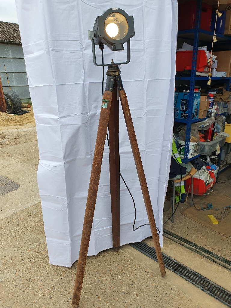 Philips Light On Vintage Wooden Tri Pod Stand