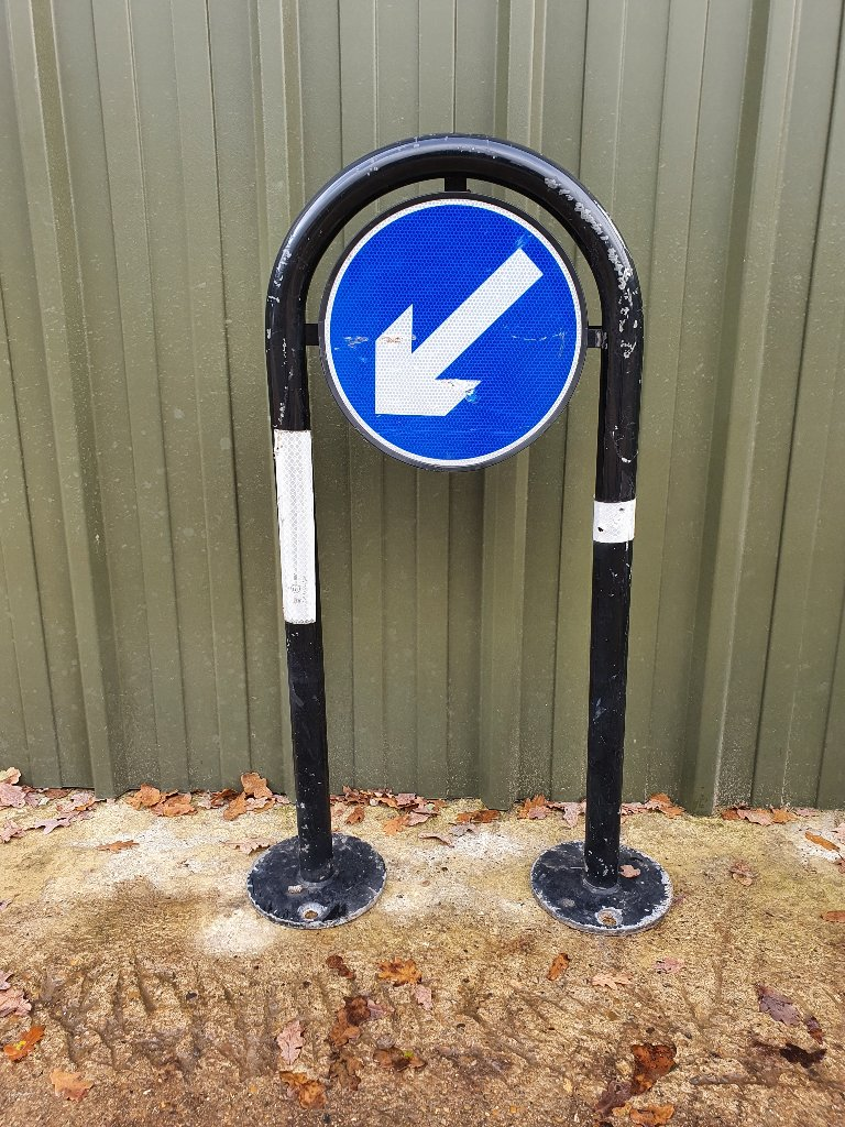 Bollard – Hoop Bollard, Black Steel, Keep Left