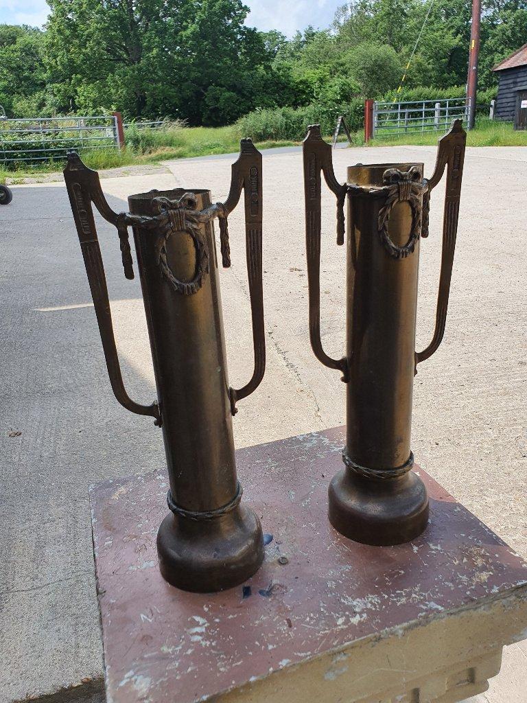 Regency Style Brass Vases – Price For PAIR