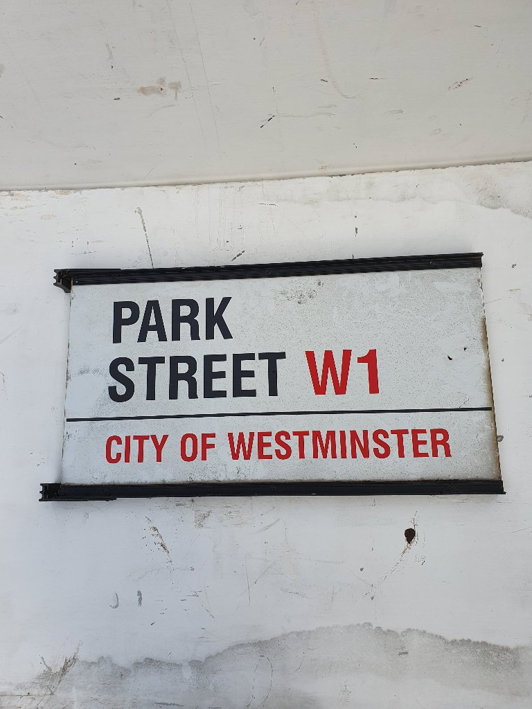 Park Street, Westminster, Double Sided Enamel Street Name Sign.
