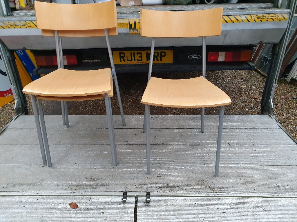 Chairs On Steel Frames –  Bent Plywood Beech