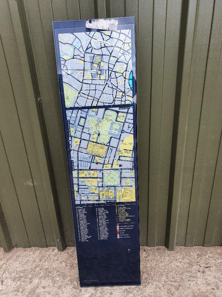 Sign – Glass Wayfinder Tourist Map, Inc: Transport For London TFL, British Museum, Bloomsbury Square